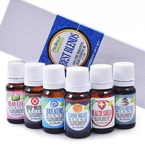 Best Blends Set Of 6 100% Pure, Best Therapeutic Grade Essential Oil   6/10m L (Breathe, Good Night,