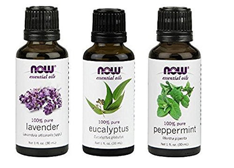 3 Pack Variety Of Now Essential Oils: Pure & Natural Blend   Lavender, Eucalyptus, Peppermint
