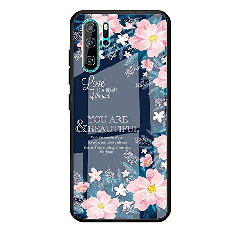 Fvntuey Compatible with Huawei Honor 8X Accessories Hard PC [Tempered Glass Back] Shell Cool Pattern Design with Soft TPU Bumper Full Body Protection Case Fashion Slim Cover for Honor 8X(Floral)