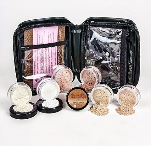 Xxl Kit W/Cosmetic Case (Beige) Full Size Mineral Makeup Set Bare Face Foundation Powder Full Cover