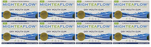 Migh Tea Flow Dry Mouth Gum With Xylitol   Spearmint   Case Of 80 Pieces   Naturally Stimulates Own Sa