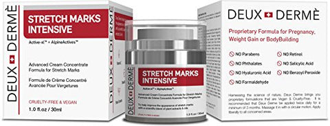 Deux Derme   Stretch Mark Intensive Removal Cream With Vitamin E, Shea, Cocoa Butter For Pregnancy,
