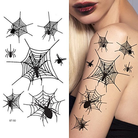 Supperb Temporary Tattoos   Spiders And Spider Net Halloween Tattoos