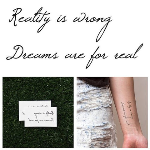 Tattify Dreams Are Real Temporary Tattoo   Denial (Set Of 2)