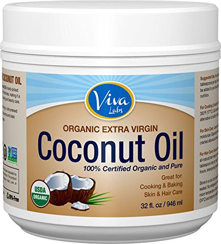 Viva Labs Organic Extra Virgin Coconut Oil, 32 Ounce
