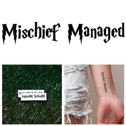 Tattify Mischief Managed Temporary Tattoo   Cover Your Tracks (Set Of 2)   Other Styles Available