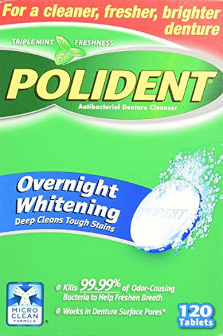 Polident Overnight Whitening Denture Cleanser 120 Tablets (Pack Of 2)