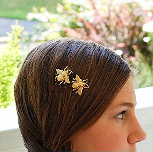 Skyvan 2 Pcs Girl Exquisite Gold Bee Hairpin Side Clip Hair Accessories