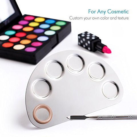 Your Choice Makeup Tools Stainless Steel Palette Spatula Semicircle 5 Well Cosmetic Blending