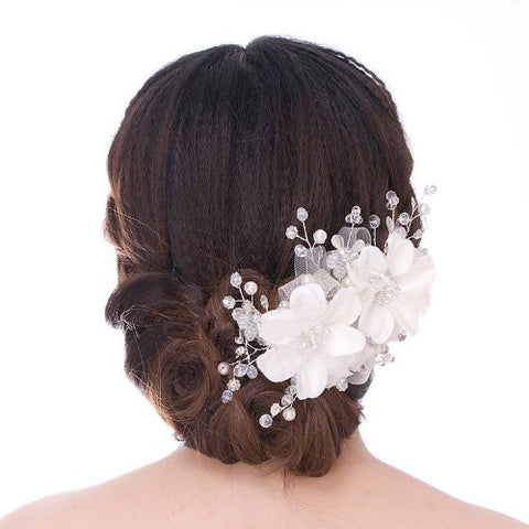 Lace Wedding Bridal Rhinestone, Pearl And Beads Hair Dress