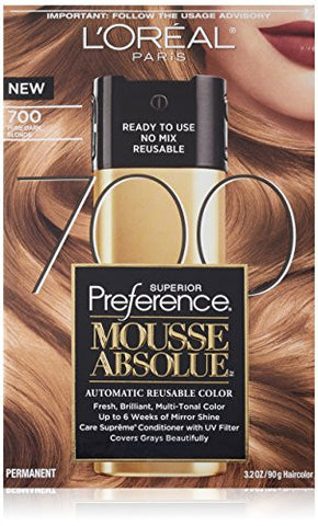 L'oreal Paris Superior Preference Mousse Absolue, 700 Pure Dark Blonde