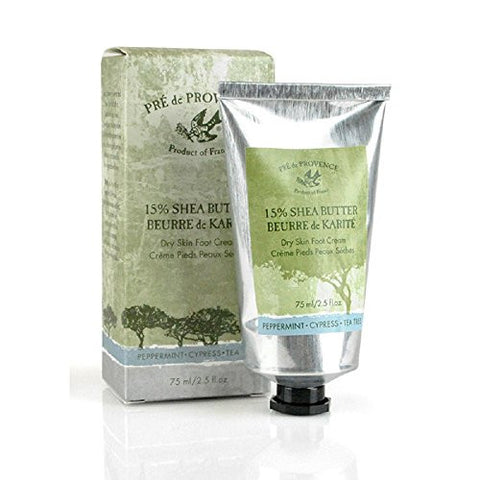 Pre De Provence 15% Natural Shea Butter Foot Cream For Treating & Soothing Dry, Cracked Feet   Peppe