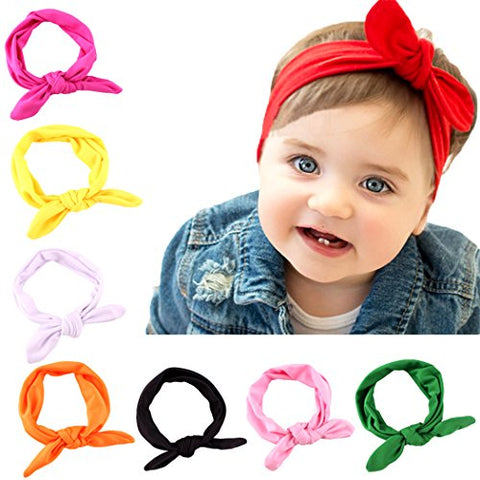 8cbca8c18608d Xiaoyu 8PCS Cute Baby Bowknot Headbands Baby Turban Hairband Knot Rabbit  Girls Hair bands for Kids ...