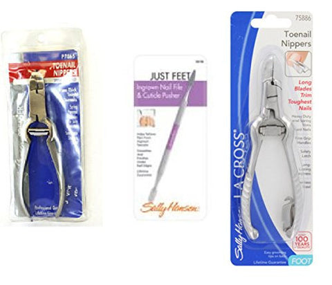 Sally Hansen La Cross Toenail Nippers P7865 + Ingrown Nail File Cuticle Pusher 58158 + Long Toenail