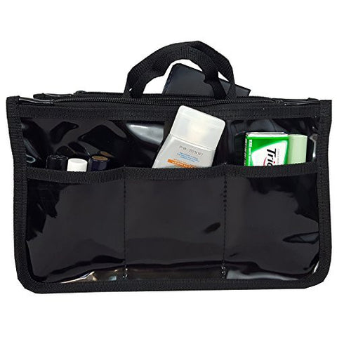 33da845056 Pvc Organizer Cosmetic Badget Insert Purse Organiser Travel Pouch Liner  With Handle (Solid Black) ...