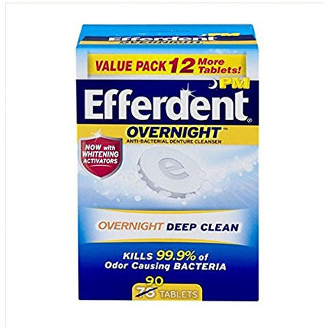Efferdent Pm Overnight Anti Bacterial Denture Cleanser Tablets 90 Ea (Pack Of 2)