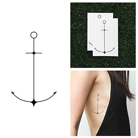 Tattify Simple Anchor Temporary Tattoo   Tall Dark And Handsome (Set Of 2)   Other Styles Available