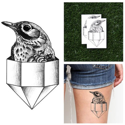 Tattify Bird In Crystal Temporary Tattoo   On Pointe (Set Of 2)   Other Styles Available   Fashionab