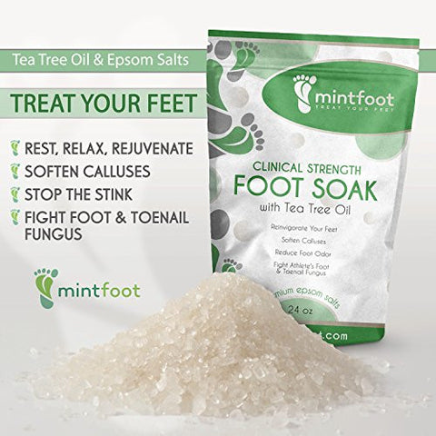 Mintfoot 24oz Clinical Strength Foot Soak With Tea Tree Oil & Epsom Salts   Fights Athlete's Foot &