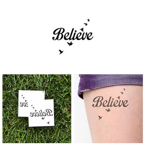 Tattify Believe Temporary Tattoo   Fly Birds (Set Of 2)   Other Styles Available   Fashionable Tempo