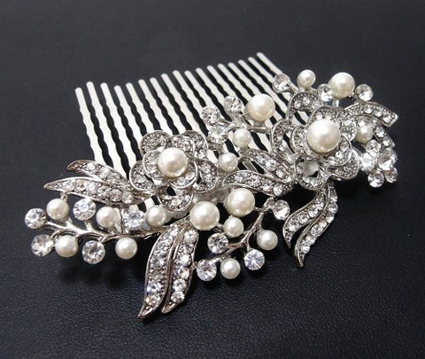 Beautiful Elegant Wedding Bridal Hair Comb Pearl And Crystal #222 By Beautyxyz