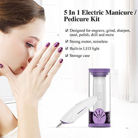 Touch Beauty Electric Nail File Drill Buffer Polisher Set With Led Light, Professional 5in1 Portable