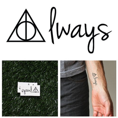 Tattify Deathly Hallows Temporary Tattoo   After All This Time (Set Of 2)   Other Styles Available