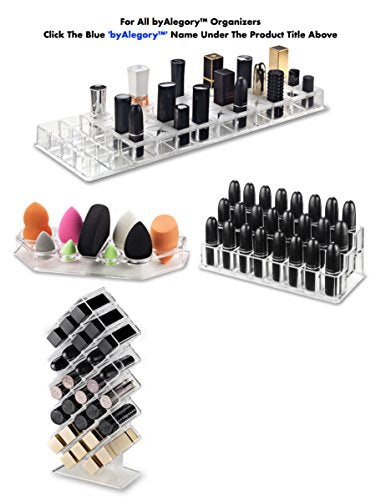 BYALEGORY Acrylic Lip Gloss Makeup Organizer | 28 Spaces Designed To Stand, Lay Flat & Be Stacked