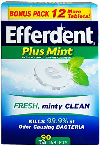 Efferdent Plus Mint Denture Cleanser Tablets 90 Ea (Pack Of 3)