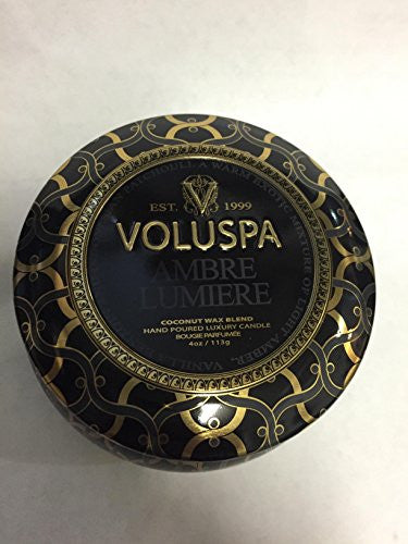 Voluspa Ambre Lumiere Petite Decorative Candle 4 Oz