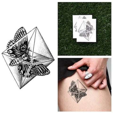 Tattify Moth In Diamond Temporary Tattoo   Crystal Moth (Set Of 2)   Other Styles Available   Fashio