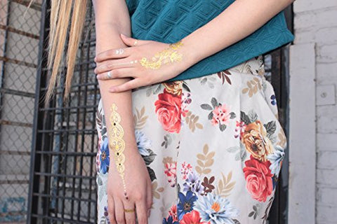 Premium Temporary Metallic Tattoos   75+ Shimmer Designs In Gold, Silver, Black And Turquoise By Bg2