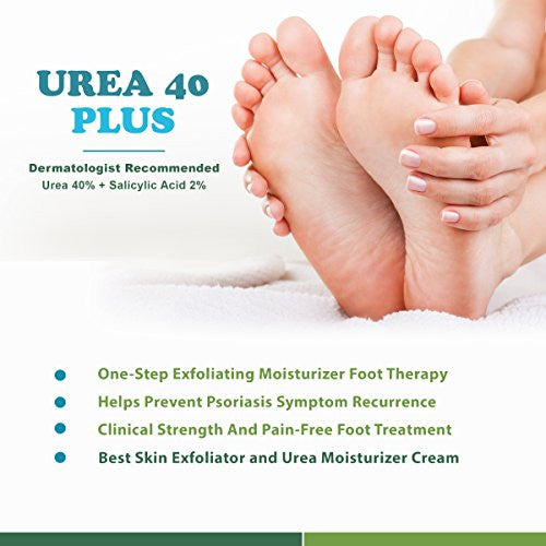 Urea Cream 40 Plus 2% Salicylic Acid Cream, Dermatologist Recommended One Step Exfoliating Skin Mois