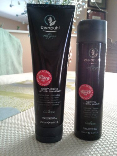 Paul Mitchell Awapuhi Wild Ginger Moisturizing Lather Shampoo 8.5 Oz & Keratin Cream Rinse 8.5oz Duo