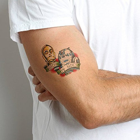 Tattify R2 D2 And C3 P0 Temporary Tattoo   Bf Fs (Set Of 2)   Other Styles Available   Fashionable Temp