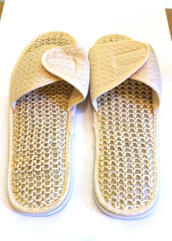 aacac2513 Adjustable Strap with Velcro Closure Waffle Cotton Spa Slippers. Sisal  Slippers. Adjustable Strap with Velcro Closure
