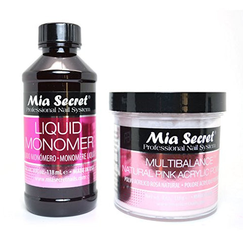 Mia Secret 4oz Liquid Monomer + 4oz Natural Pink Acrylic Powder Nail Art System