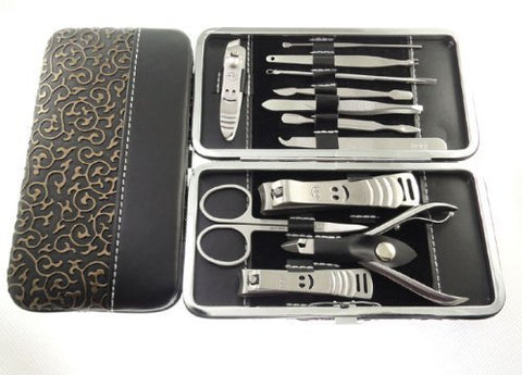 Manicure Pedicure Set Nail Clippers   12 Piece Stainless Steel Hygiene Kit   Toenail Clippers Includ