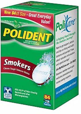 Polident Smokers, Antibacterial Denture Cleanser 84 Ea (Pack Of 2)