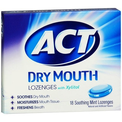 New! ACT Total Care Dry Mouth Lozenges, Mint (4 x 18 ea) by CHATTEM