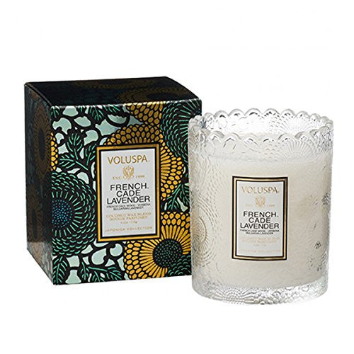 Voluspa French Cade Lavender Scalloped Edge Boxed Glass Candle, 6.2 Ounces