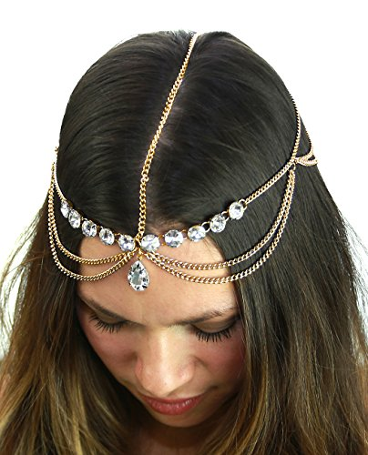Nyfashion101 Women's Bohemian Fashion Head Chain Jewelry   Pear Cut Rhinestone Charm, Gold Tone