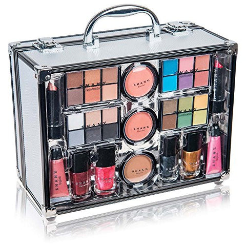 Shany Carry All Trunk Makeup Kit With Reusable Aluminum Case Exclusive Holiday Gift Set. Black & Whi