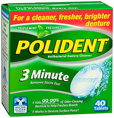 Polident 3 Minute For Cleaner,Fresher And Brighter Denture 40 Ea