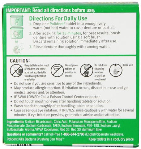 Polident Smokers Antibacterial Denture Cleanser Effervescent Tablets, 40 Count