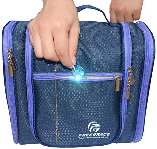 Hanging Toiletry Bag By Freegrace -Premium Large Travel Essentials Organizer -Durable Metal Hook - For Men & Women -Perfect For Accessories, Cosmetics, Personal Items, Shampoo, Body Wash (Dark Blue)