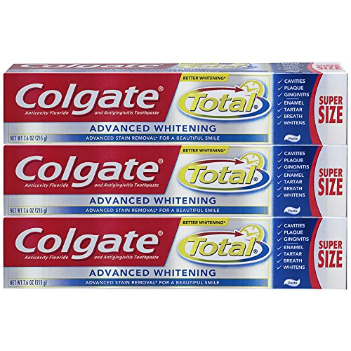 Colgate Total Toothpaste, Advanced Whitening Paste   7.6 Ounce, 215g (3 Pack)