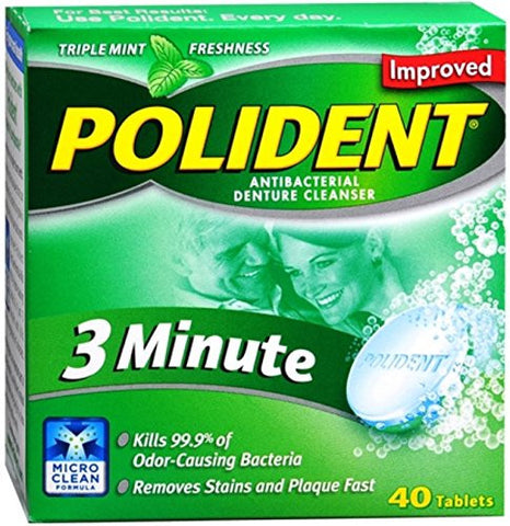 Polident 3 Minute Tablets 40 Tablets (Pack Of 4)