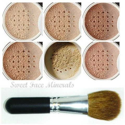 Xxl Kit With Brush (Light Tan) Full Size Mineral Makeup Set Bare Face Powder Matte Foundation Cover