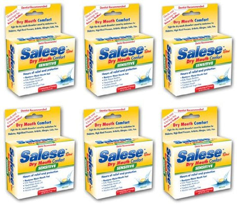 Salese Sensitive (Mild Lemon) with Xylitol for Dry Mouth Relief - 6 Pack